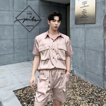2020 Summer New Youth Popular Solid Color Silky Fabric Multi-pocket Short-sleeved Shirt Loose Five-point Pants Casual Men's Suit