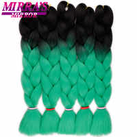 Miroir de Mirra Ombre tressage cheveux synthétiques Crochet Extensions de cheveux vert Jumbo tresses cheveux 24 pouces couleur tresses trois tons