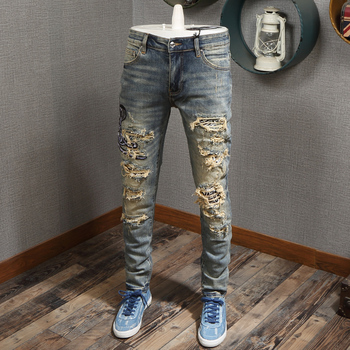 Fashion Streetwear Men Jeans Slim Fit Elastic Destroyed Ripped Jeans Men Patchwork Embroidery Designer Pants Hip Hop Jeans Homme fashion designer men jeans black color slim fit elastic ripped jeans men destroyed leather patch streetwear hip hop jeans