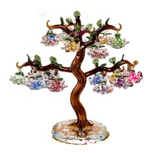 Exquisite Crystal Lotus Tree Ornaments Fengshui Miniature Figurine Home Decorations Crafts Gifts
