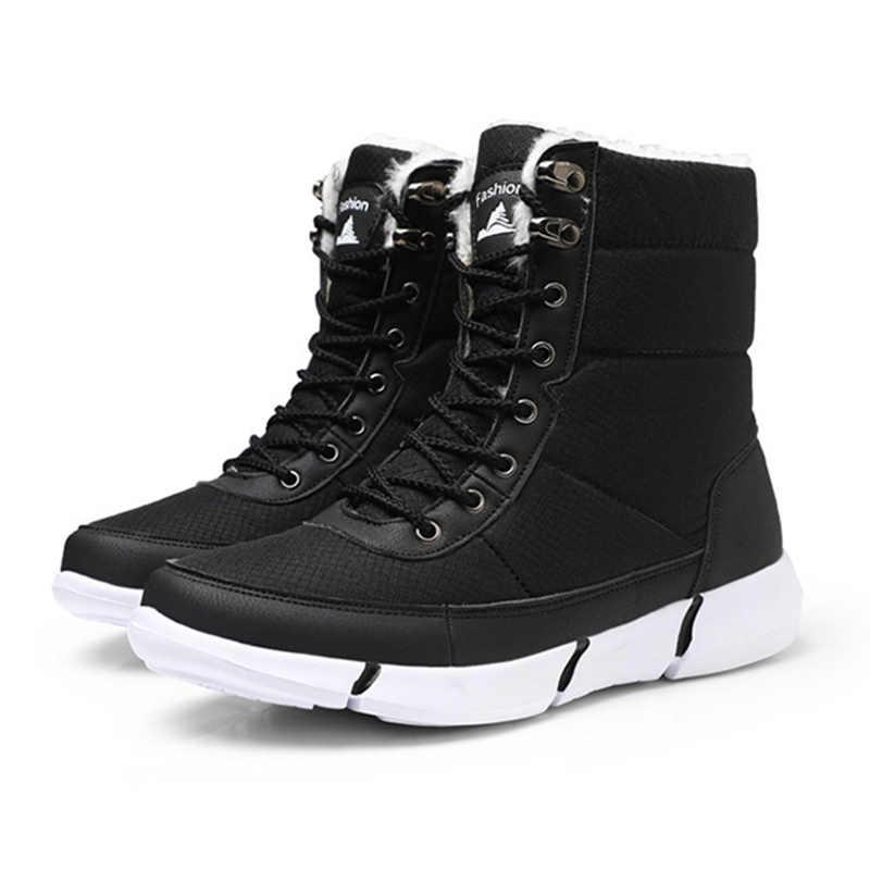 Yeni botlar erkekler kış kar botları erkekler açık hava etkinliği ayakkabı botları sıcak Lace Up yüksek üst moda ayakkabılar erkek botları