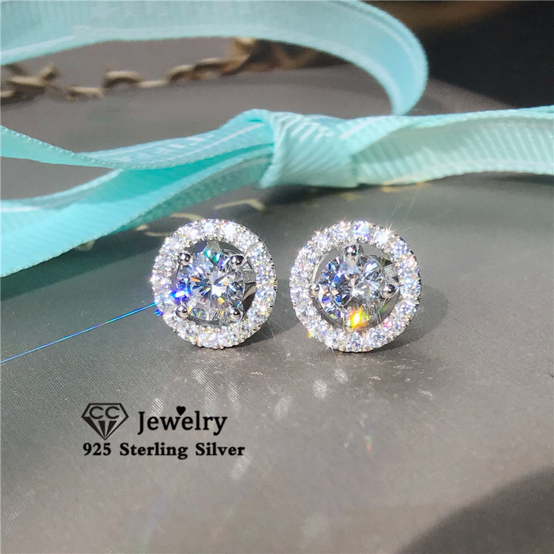 Stud Earrings For Women S925 Silver Cubic Zirconia Wedding Romantic Bridal Fine Jewelry Engagement Brincos Drop Shipping CCE032