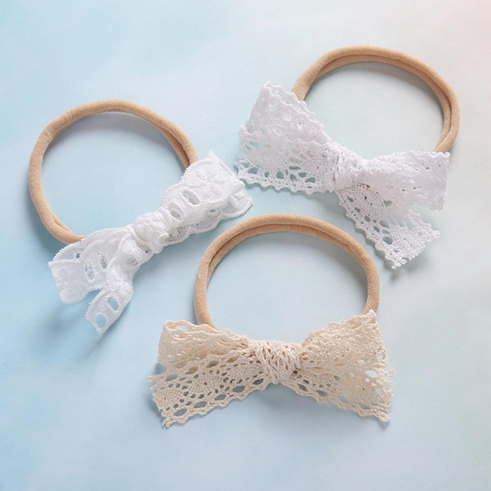 Hot Solid Lace Bow Baby Headbands For Girls Handdmade Princess Elastic Soft Baby Headband Turban Newborn Infant Hair Accessories