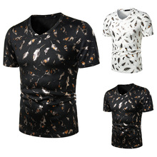 summer new 3d feather printing men cotton t-shirt good quali