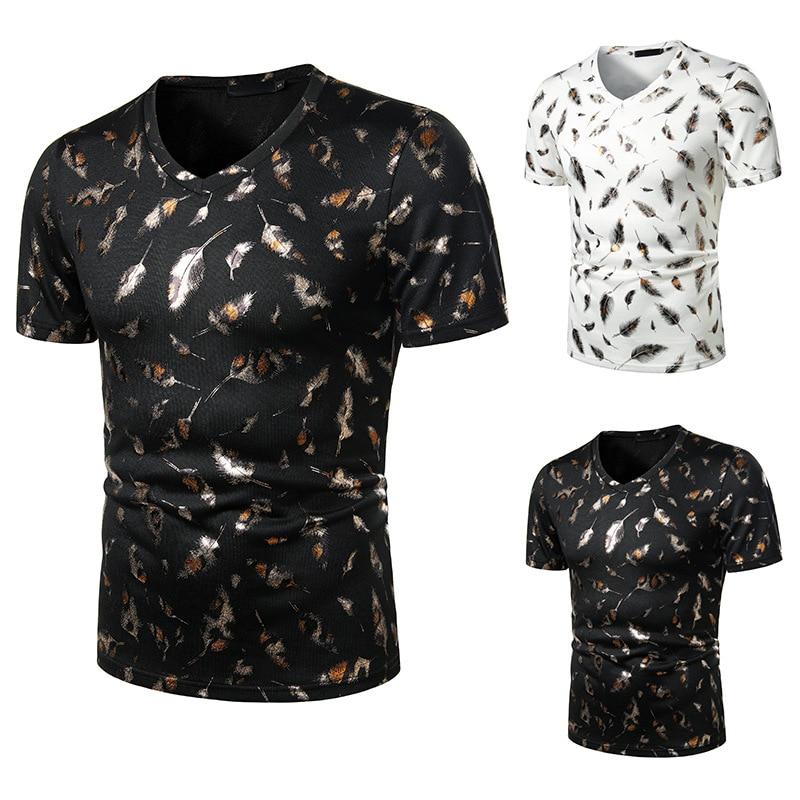 Summer New 3d Feather Printing Men Cotton T-shirt Good Quality Hip Hop T Shirt For Men