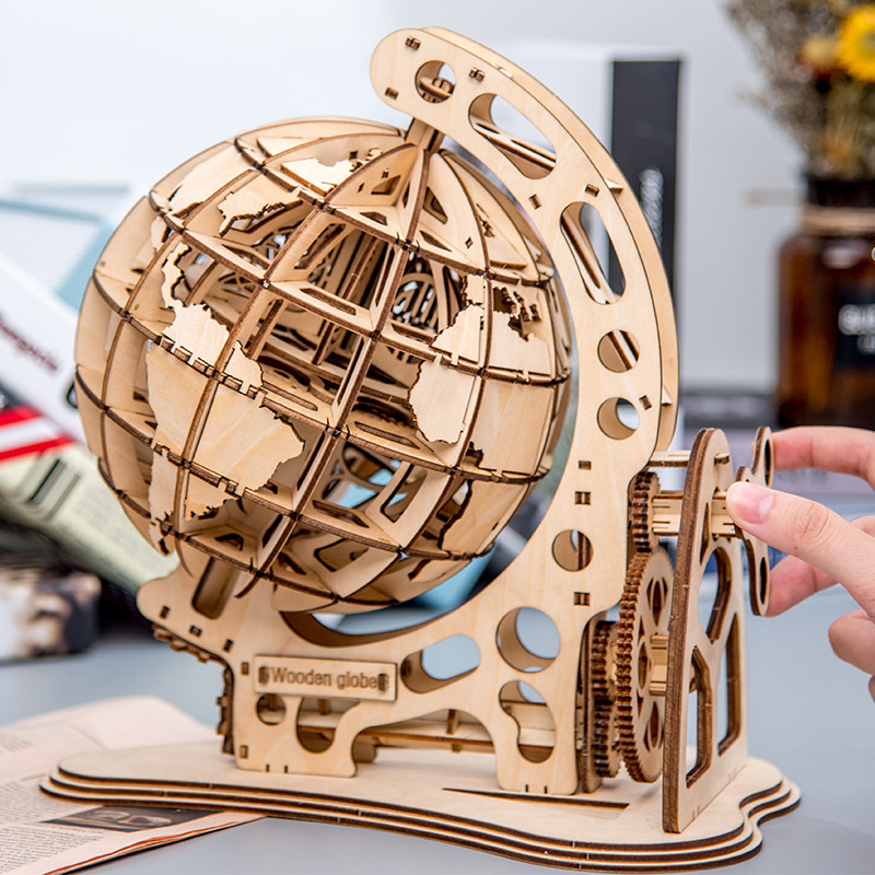 Wooden Globe Puzzle 3D DIY Mechanical Drive Model Transmission Gear Rotate Assembling Puzzles Home Office Decoration Toys
