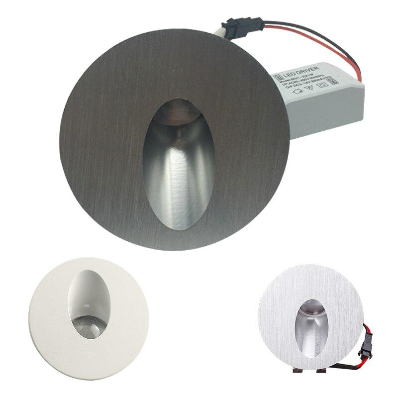 Aluminum Modern Brief LED Stair Light 85-265V 1W 3W Embedded Spotlight Background Light Step Aisle Lamp