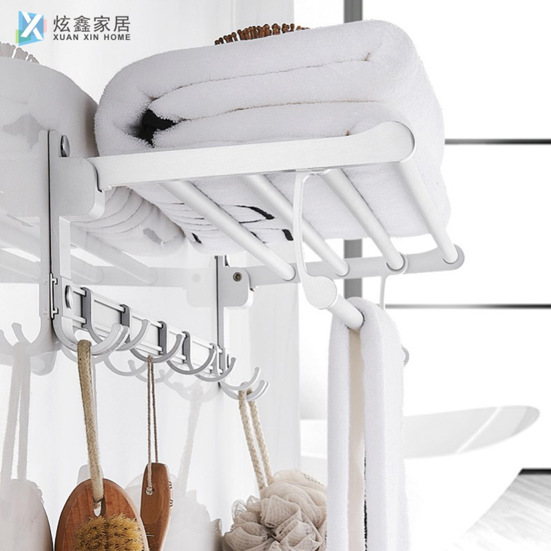 Silver White Bathroom Towel Rack Space Aluminum Wall Mounted Double Layer Folding Storage Shelf Adhesive Towel Hanger Accessorie