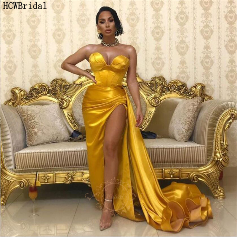 Sexy Golden African Evening Dress Sweetheart High Slit Satin Long Prom Party Dresses Plus Size Formal Gowns Robe De Soiree