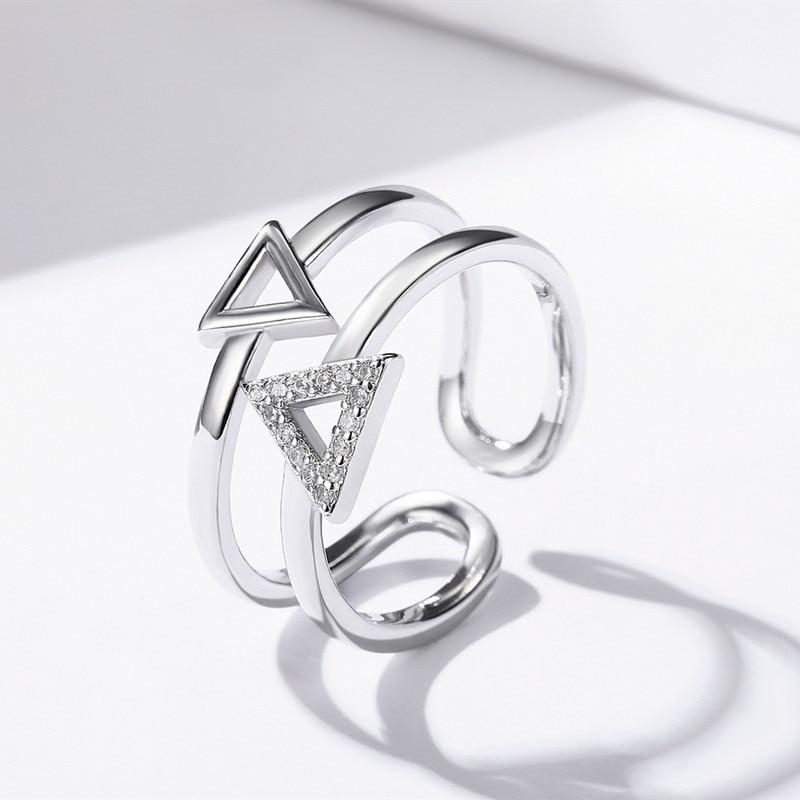 SODROV Heißer 925 Sterling Silber Ring Dreieck Party Eingestellt Ring Für Frauen Silber 925 schmuck R049