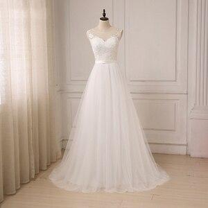 Image 1 - Jiayigong זול תחרה חתונה שמלת O צוואר טול Applique Boho חוף כלה שמלת כלה בוהמית שמלות Robe De Mariage