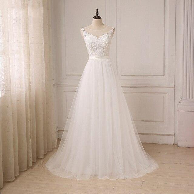 Jiayigong זול תחרה חתונה שמלת O צוואר טול Applique Boho חוף כלה שמלת כלה בוהמית שמלות Robe De Mariage