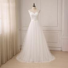 Jiayigong 저렴한 레이스 웨딩 드레스 o 넥 Tulle Applique Boho 비치 브라 가운 보헤미안 웨딩 드레스 Robe De Mariage