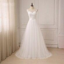 Jiayigong tanie koronkowa suknia ślubna O Neck tiul aplikacja Boho plażowa suknia ślubna suknie ślubne w stylu Boho szata De Mariage