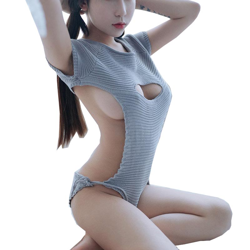 Sexy Women Cosplay Backless <font><b>Virgin</b></font> <font><b>Killer</b></font> <font><b>Sweater</b></font> Bodysuit Bandage Hollow Open Chest <font><b>Japanese</b></font> Knitted <font><b>Sweaters</b></font> And Pullovers image