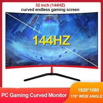 "Monitor curvo de 32 ""144HZ 1800R Juegos de computadora 1920 * 1080 16: 9 LCD Pantalla ancha IPS Pantalla de visualización de 24 pines DVI / DVI-D / HDMI Interfaz de audio 178 ° Monitor de juegos para PC con visión gran"