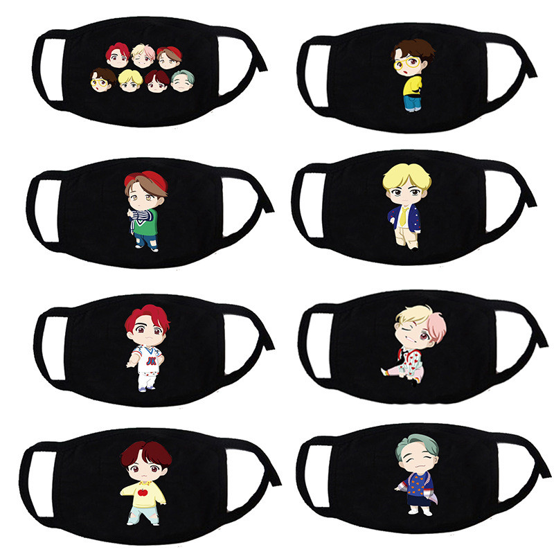 Kpop House Of Bangtan Boys JK Face Mask Cotton Black Mouth Mask Anti-dust Pollution Masks Cartoon Masker Unisex For Woman Man