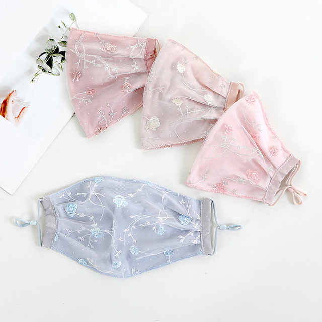 Women Lace Embroidery Floral Masks Sunscreen Imitation Silk Breathable Mouth Muffle Ladies Sweet Korean Mouth Masks Face Covers 3