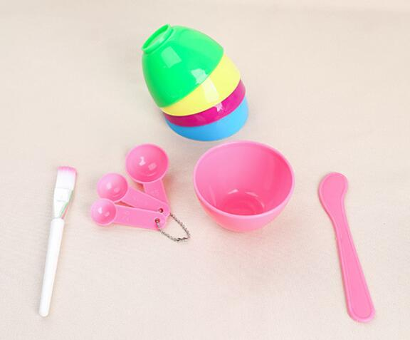 Hot 200sets/lot 4 In 1 DIY Facial Mask Mixing Bowl Brush Spoon Stick Tool Face Care Set High Quality