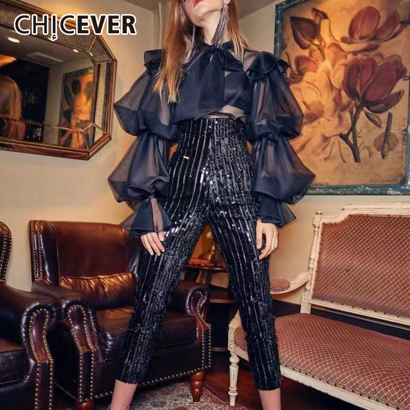 CHICEVER Korean Leopard Print Chiffon Shirt Blouse Women Lace Up Puff Long Sleeve Tops Female Vintage Fashion 2020 New Spring