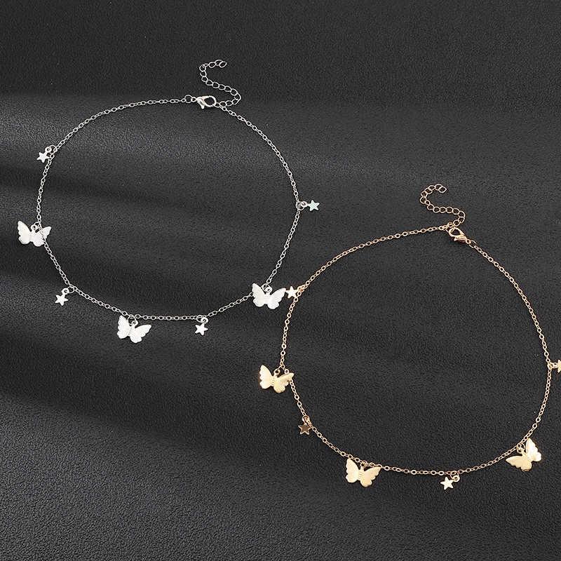 ボヘミアンかわいい蝶チョーカー女性ゴールドシルバー色の鎖骨チェーン 2020 ファッション女性チョーカージュエリー XL052