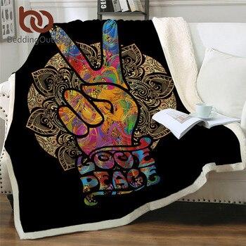 BeddingOutlet Hippie Sherpa Fleece Blanket Gold Mandala Plush Blanket Victory Sign Retro Blankets For Beds Peace Sign Bedclothes