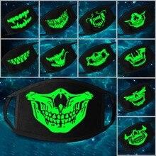 Мульти Применение световой аксессуары маски, способный преодолевать Броды для взрослых с рисунком череп на Хэллоуин маски Скелет PM2.5 пыле Череп Половина косплей с маской для лица