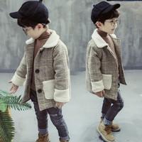 Little Boys Fashion Plaid Woolen Jacket 2019 Autumn Korean Baby Kids Casual Trench Coat Outerwear Children's Outer Clothing X94