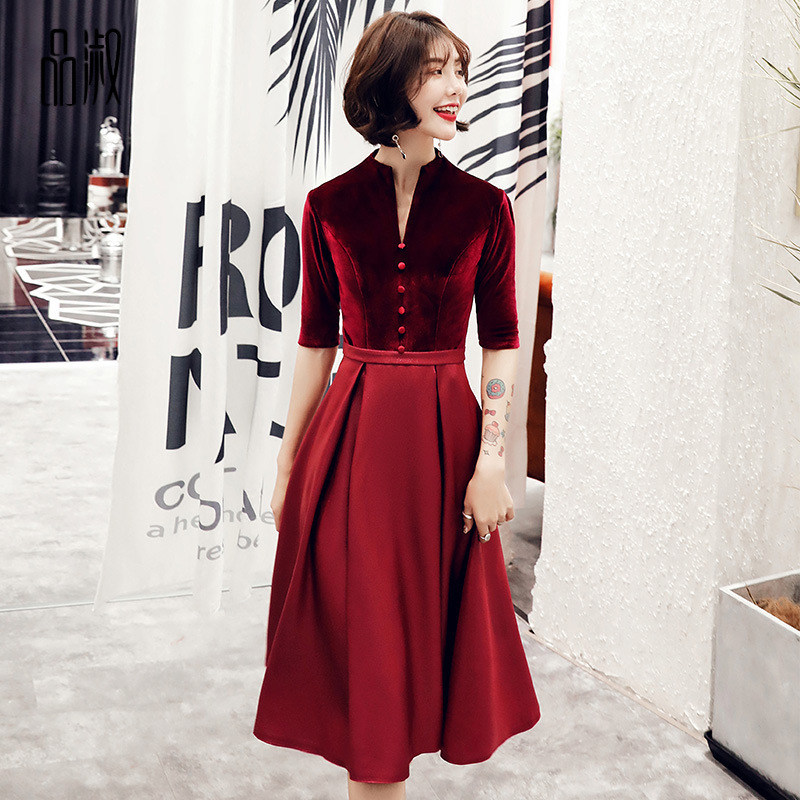 2019 Sale Toast Bride 2020 New Thank You Banquet Red Show Thin Dress Noble Elegant Short Evening Female