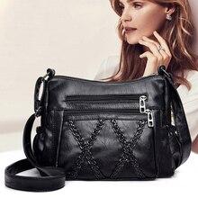 High Quality Ladies Soft Leather Messenger Bag Large Capacity Black Shoulder