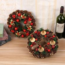 27 см Рождественский венок искусственный, созданный вручную, гирлянда на дверь, подвесные декоративные принадлежности, вечерние, для торгового центра, Новогодний венок