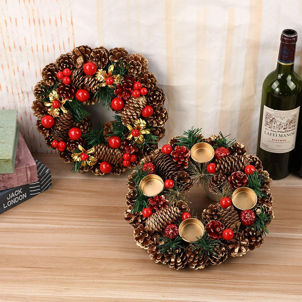 27cm Christmas Wreath Artificial Handmade Garland Door Hanging Decorative Supplies Party Shopping Mall New Year Advent Wreath