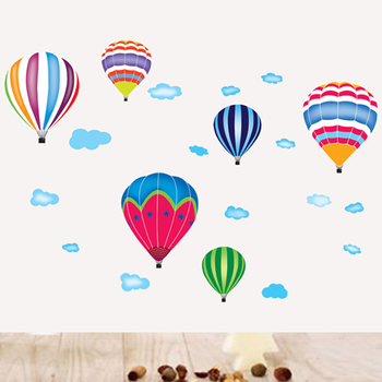 Cartoon Hot air balloon series Wall Stickers Kids room Kindergarten Baby room Wall Decals Eco-friendly DIY Art Vinyl Murals 12