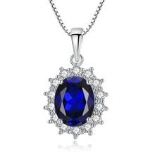 Romad 100% S925 Sterling Silver Necklace Kashmir Velvet Pendants Gifts for Women Oval Blue Fascinating Fine Jewellery