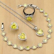 Kalp 925 gümüş takı setleri sarı kübik zirkonya beyaz taş kadın taş küpe/kolye/yüzük/bilezik/Kolye seti