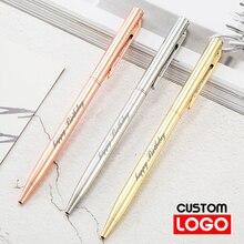 Новая металлическая шариковая ручка под розовое золото изготовленным на заказ логосом рекламная шариковая ручка надпись Выгравировано На...