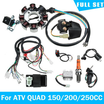 Plaża ATV kable w wiązce akcesoria samochodowe elektryczne kable w wiązce drut krosno Stator pełny zestaw do ATV quad 150 200 250CC tanie i dobre opinie 910144 Plastic shell ATV Beach Car Accessories CG125-250CC