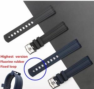 Image 2 - Qualidade da marca 20mm borracha macia silicone pulseira de relógio fivela moagem arenaceous cinto especial para omega cinta para seamaster 300 logotipos
