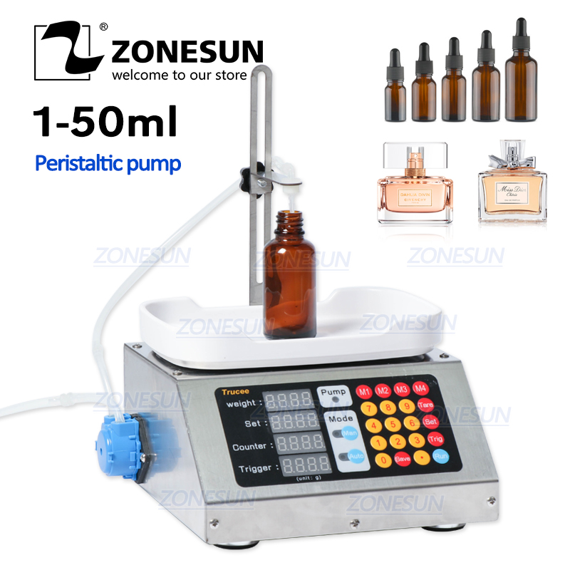 ZONESUN 0-50ml Small Automatic CNC Liquid Filling Machine 110V-220V Perfume Weighing Filling Machine Oral Liquid Solution Filler