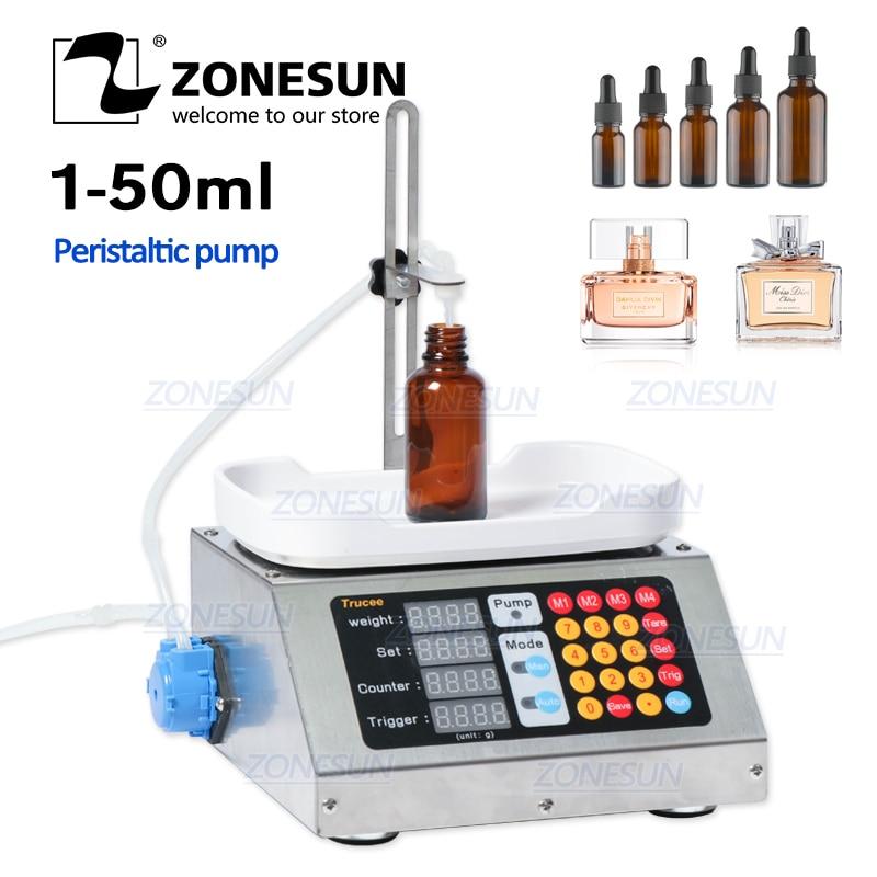ZONESUN 0-50ml Small Automatic CNC Liquid Filling Machine 220V Perfume Weighing Filling Machine Oral Liquid Solution Filler