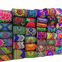 7M/Bag 5CM Vintage Ethnic Embroidery Lace Ribbon Boho Woven Jacquard Lace Trim DIY Clothes Bag Accessories Embroidered Fabric