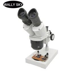 Mikroskop Stereo 20X 40X mikroskop obuoczny lutowanie inteligentny telefon naprawa mikroskop przemysłowy PCB inspekcja edukacyjna