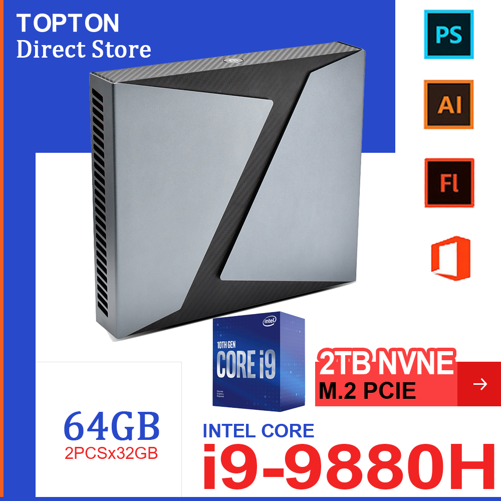 Игровой мини-ПК TOPTON Core i9-9980HK i9 9880H i7 9750H Nvidia GTX 1650 4 Гб игровой Настольный 2DDR4 64 Гб Windows10 4K DP HDMI AC WiFi