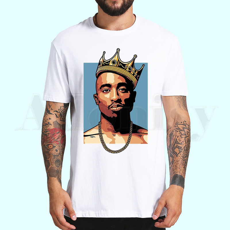 Tupac 2pac Hip Hop Swag Men's T Shirt Summer Short Sleeve Printed Chewing Funny Harajuku Tshirt Tops Men's T-shirt Streetwear