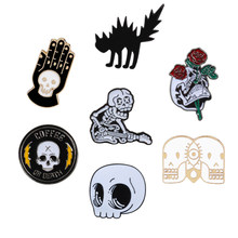 Flower Skull Hand Cat Enamel Pins Collection Skeleton Head Rose Lapel Pins Love and Death Badge Brooches Punk Dark Jewelry Gifts(China)