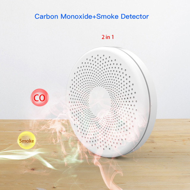 Tuya WIFI Carbon Monoxide Smoke Detector CO Gas Fire Alarm 2 in 1 Sensor Home Security Protection Battery Not Included 1
