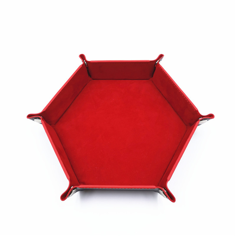 Игральные кости DND лоток dados de rol для хранения 14 цветов шестигранный бархатный тканевый Пинцет дисковый складной ящик для хранения pu лоток Настольный ящик для хранения - Цвет: Красный