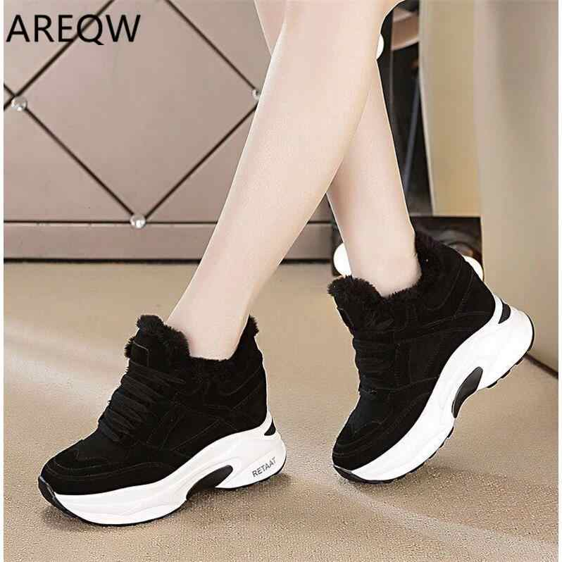 2020 Women Platform Plush Lace Up Snow Boots Winter Woman Boots Ladies Warm Fur Vulcanized Shoes Female Causal