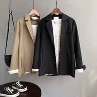 Spring Women Thin Blazer Coat Brown Single Breasted Slim Blazer Loose Suit Korean Style Solid Color Cardigan Women Tender Tops