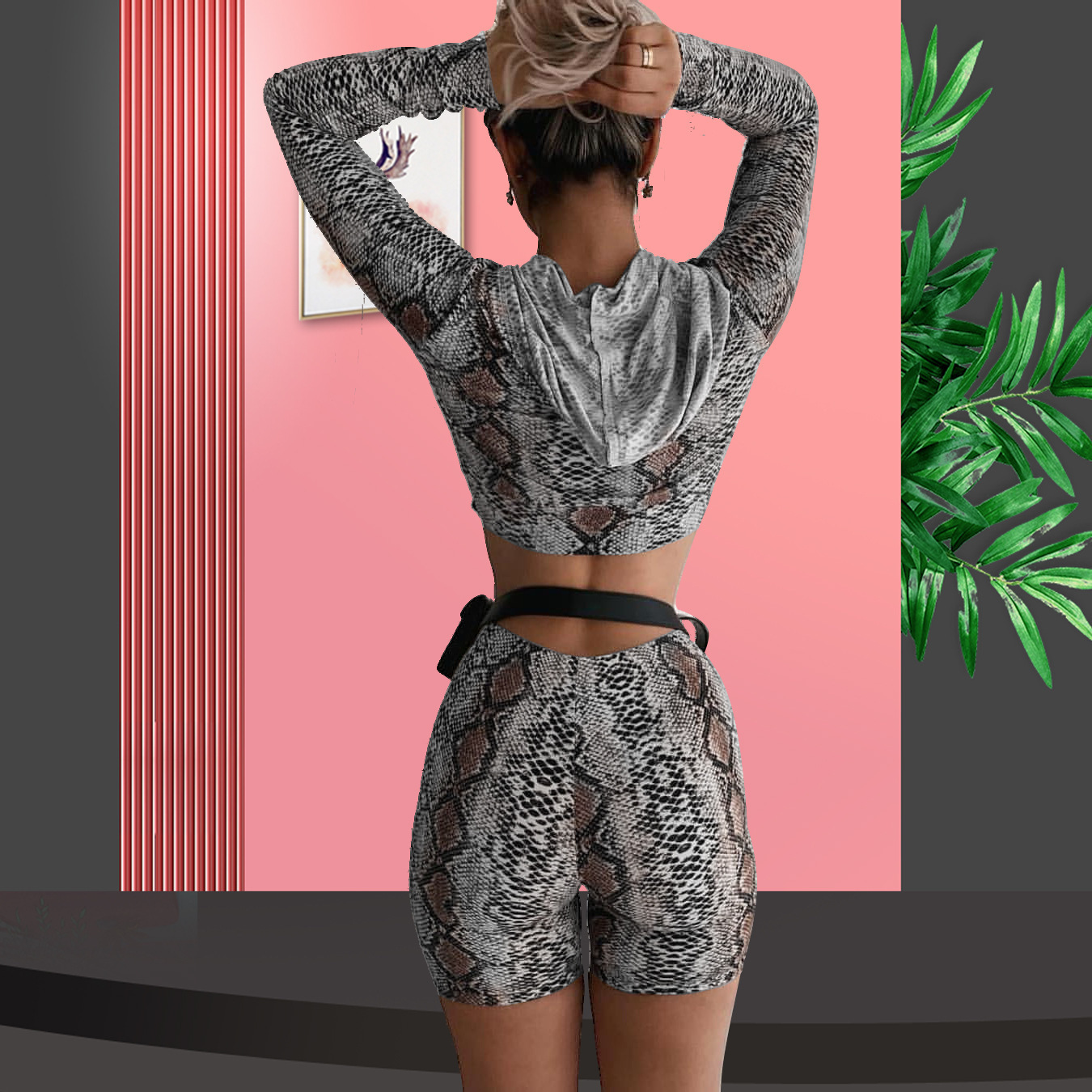 Fitness Snake Print Zipper Up Hooded Coat High Waist Biker Shorts 2019 Sexy Women Club Party Wear 2 Piece Matching Set Outfits in Women 39 s Sets from Women 39 s Clothing